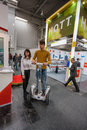 Attendee tests Segway displayed at CeBIT Royalty Free Stock Photo