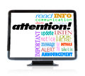 Attention alert announcement words on hdtv television a high definition with the word and many other related to communication and Royalty Free Stock Photo