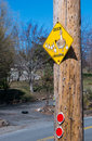 Attention! Duck crossing road sign Royalty Free Stock Photo