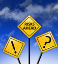 Attention high risks ahead sign on a blue sky Stock Images