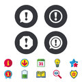 Attention icons. Exclamation speech bubble. Royalty Free Stock Photo