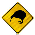 Attention Kiwi Crossing Road Sign Royalty Free Stock Photo
