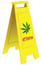 Attention marijuana folding warning signal about vector illustration Stock Photo