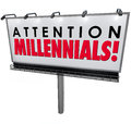 Attention millennials billboard sign attract generation y custom words on an outdoor or advertising to young people to new youth Stock Images