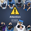Attention notice warning scrutiny error concept Stock Image
