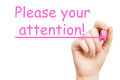 Attention pink marker on white background Royalty Free Stock Photo