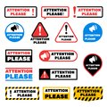 Attention please message vector signs. Alert important information labels Royalty Free Stock Photo