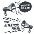 Attention please vector symbols with voice megaphone. Commercial poster