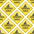 Attention shark fin flipper vector sign icon dangerous button water beach serfing shark warning yellow sign Royalty Free Stock Photo