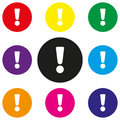 Attention sign icon. Exclamation mark. Hazard warning symbol. Round colourful 11 buttons. Vector Royalty Free Stock Photo