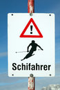 Attention skiers - sign Royalty Free Stock Images