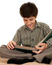 Attentive reading boy Royalty Free Stock Images