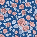 Attern with roses on a blue background. Seamless texture for decoration, decoration, textiles, cards, nails, prints, scrapbooking