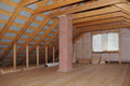 Attic with chimney in wooden house under construction interior view Royalty Free Stock Images