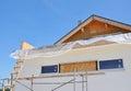 Attic Insulation. House Facade Construction Exterior Royalty Free Stock Photo