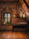 Attic with a piano and candles wooden an old books christmas Royalty Free Stock Images