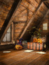 Attic with pumpkins and candles wooden halloween books Royalty Free Stock Images