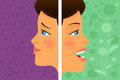 Before and after attitude a vector illustration of a beautiful woman change Stock Images