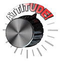 Attitude volume knob turned to highest level to succeed an amplifier or speaker type with the pointer up the word represent the of Stock Images