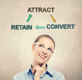 Attract, Retain and Convert concept with young business woman Royalty Free Stock Photo