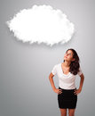 Attractie woman looking abstract cloud copy space young Stock Photo