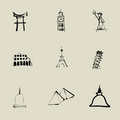 Attraction around the world chinese brush drawing icon set Royalty Free Stock Photography