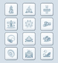 Attraction icons tech series amusement park or funfair gray icon set Stock Photography