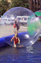 Attraction on the water zorbing vacation spent in city children s entertainment Royalty Free Stock Image
