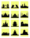 Attractions countries icon vector silhouettes of in beige icons on a white background Stock Photo