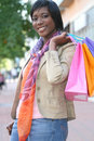 Attractive African American Female Shopping Royalty Free Stock Photos