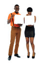 Attractive african couple with pizza boxes Royalty Free Stock Photo