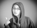 Attractive asian girl in her twenties isolated on black and white model grey backround Royalty Free Stock Photos