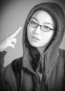 Attractive asian girl in her twenties isolated on black and white model grey backround Royalty Free Stock Photography