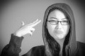 Attractive asian girl in her twenties isolated on black and white model grey backround Royalty Free Stock Images