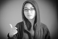 Attractive asian girl in her twenties isolated on black and white model grey backround Stock Image