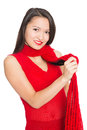 Attractive asian girl with a red scarf mixed race caucasian Stock Photo