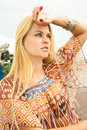Attractive beautiful blondy woman posing Royalty Free Stock Image