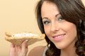 Attractive Beautiful Young Woman Holding a Brown Bread Prawn and Sandwich Royalty Free Stock Photo