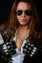 Attractive biker girl Royalty Free Stock Photo