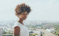 Attractive black lady with cityscape in background