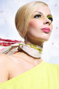 Attractive blonde beautiful woman in a colorful make up Stock Photo