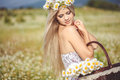 Attractive blonde in chamomile field young woman in wreath surrounded by chamomiles Stock Image