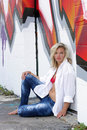 Attractive Blonde with Graffiti (14) Stock Photos