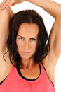 Attractive blue eyed brunette woman stretching arms out Royalty Free Stock Photo