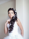 Attractive bride posing indoor Royalty Free Stock Images