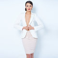 Attractive brunette business woman wearing jacket white Stock Image
