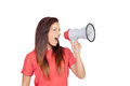 Attractive brunette girl shouting with a megaphone isolated on over white background Stock Photos
