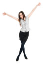 Attractive brunette with hands up young happy celebrating victory isolated on white background Stock Image
