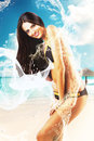 Attractive brunette woman in swimsuit with body Royalty Free Stock Photo