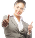 Attractive business woman giving thumbs up portrait of over white background Stock Photos